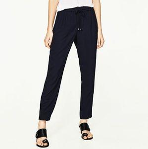 NWT Zara Navy Blue Drawstring Trousers
